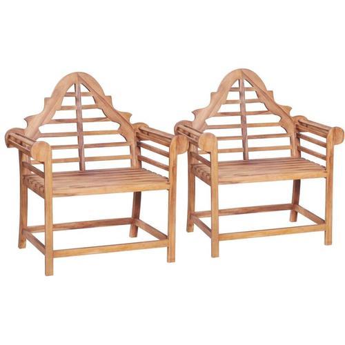 Gartenstühle 2 Stk. 91 x 62 x 102 cm Teak Massiv