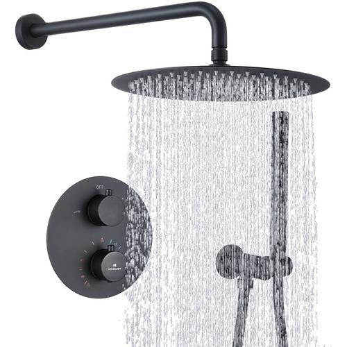 Duscharmatur Schwarz Duschsystem Rainshower Regendusche Duschset Brausegarnitur mit Duschkopf und