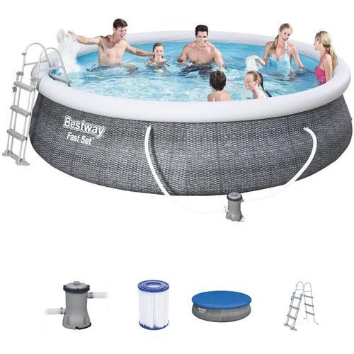 Bestway Fast Set Pool + Filterpumpe Schwimmbecken Planschbecken Familienpool