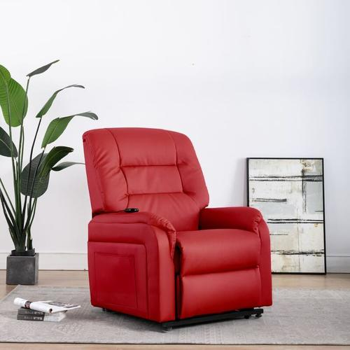 Elektrischer TV-Sessel mit Aufstehhilfe Kunstleder Rot
