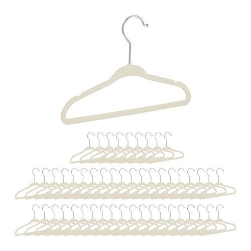 Relaxdays - 50er Set Kinderkleiderbügel Samt, rutschfeste Kleiderbügel, Steg & Kerben, für Mädchen