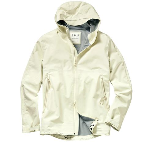 SHU Herren Regenjacke Regular Fit Weiß einfarbig