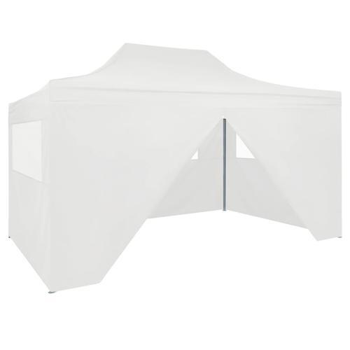 vidaXL Faltbares Partyzelt mit 4 Seitenwänden 3 x 4,5 m Weiß