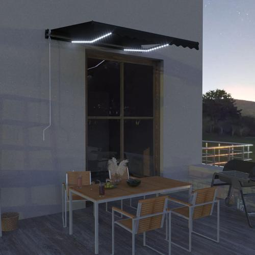 vidaXL Einziehbare Markise mit Windsensor & LED 300x250cm Anthrazit
