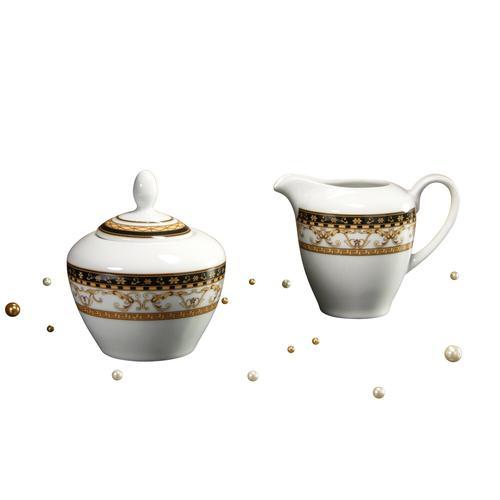 CreaTable, 15090, Serie Majestosa schwarz, Geschirrset Milch- und Zucker Set 2 teilig