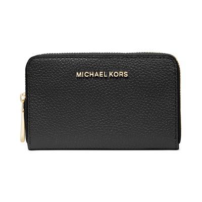 Michael Michael Kors Jet Set Leather Zip-Around Card Case - Black/Gold