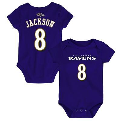 Infant Lamar Jackson Purple Baltimore Ravens Mainliner Name & Number Bodysuit, Infant Boy's, Size: 1