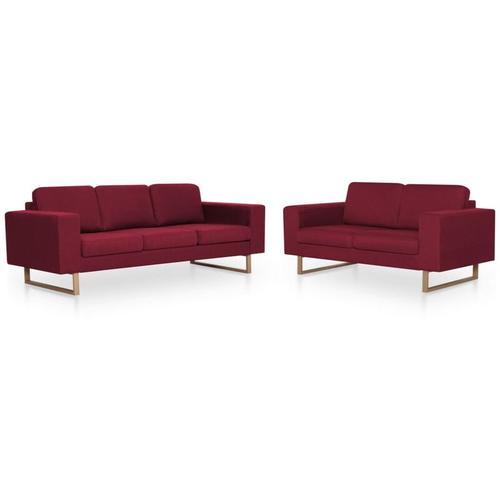 Sofagarnitur 2-tlg. Weinrot