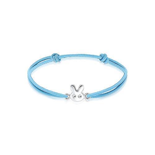Elli Armband Kinder Hase Kristalle 925 Silber Armbänder hellblau Mädchen Kinder