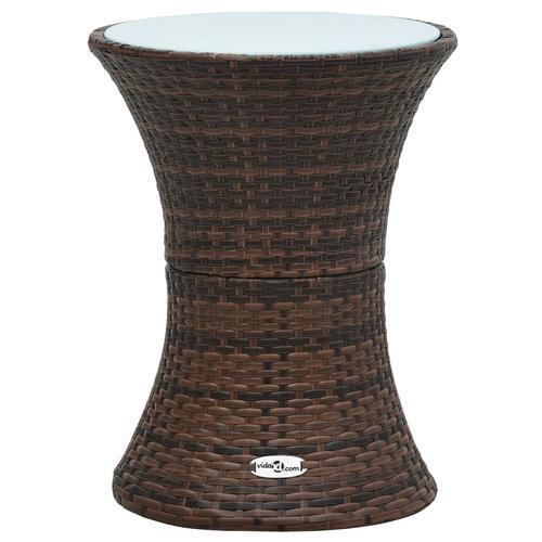 vidaXL Garten-Beistelltisch Trommelform Braun Poly Rattan
