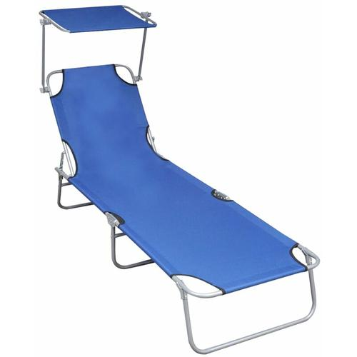 Klappliege mit Sonnenschutz Blau Aluminium
