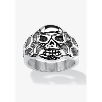 Men's Big & Tall Openwork Skull Ring by PalmBeach Jewelry in Stainless Steel (Size 15)