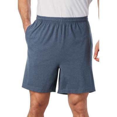Men's Big & Tall Lightweight Jersey Shorts by KingSize in Heather Slate Blue (Size 2XL)