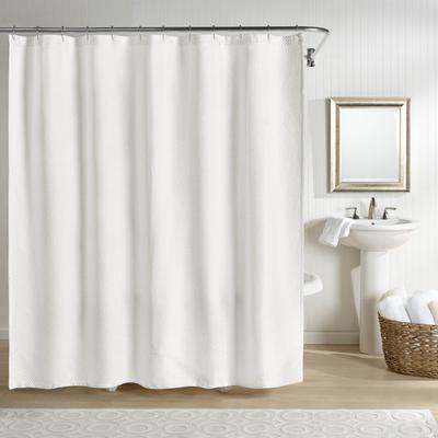 """Wide Width Sunset European Matelasse Shower Curtain by Sky Home in White (Size 72"""" W 72"""" L)"""