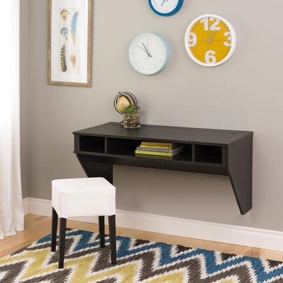Minimal Tri-Cubby Floating Desk by Prepac Manufacturing in White Wash
