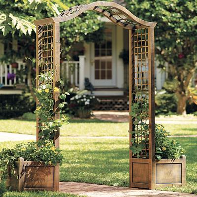 Resin Garden Arch Trellis by BrylaneHome in Bronze