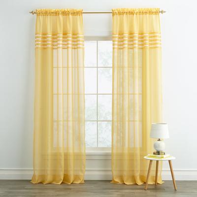"""Wide Width BH Studio Pleated Voile Rod-Pocket Panel by BH Studio in Daffodil (Size 56"""" W 95"""" L)"""