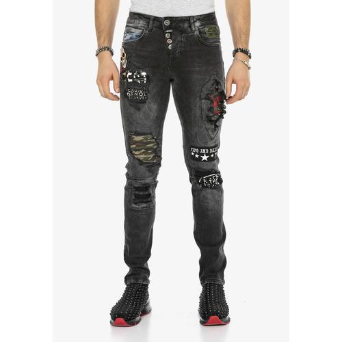 Cipo & Baxx Bequeme Jeans, mit Aufnäher in Slim Fit schwarz Herren Loose Jeans