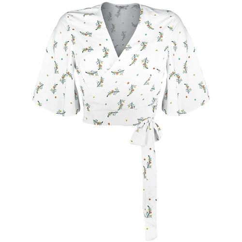 Banned Retro Spring Sprig Wrap Blouse Damen-Bluse - weiß