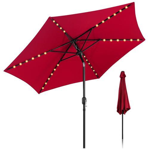 Sonnenschirm Ø300cm Alu Marktschirm mit Warmweiß Solar-Beleuchtung Gartenschirm Terrassenschirm UV