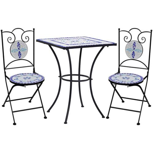 3-tlg. Bistro-Set Mosaik Keramik Blau Weiß
