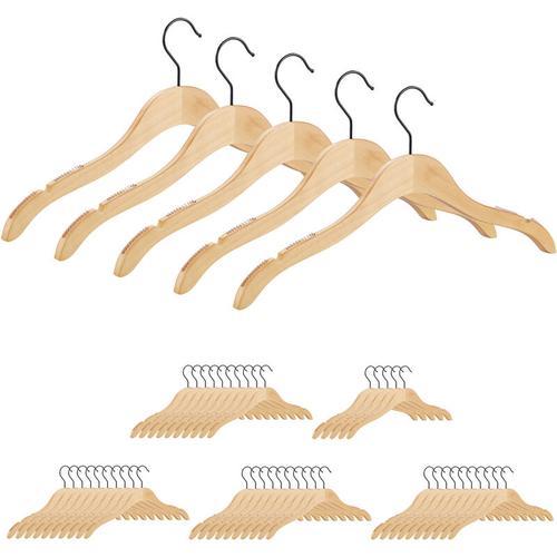 Relaxdays - 50 x Kleiderbügel Holz, beflockte & eingekerbte Bügel mit Antirutsch Effekt, edles