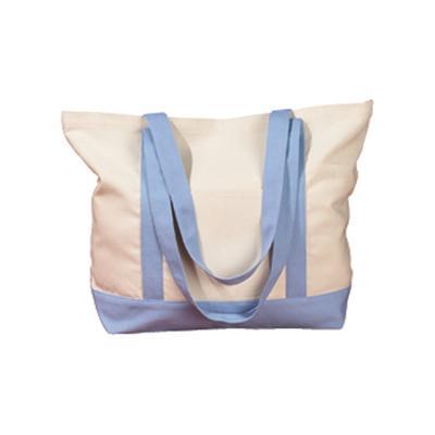 BAGedge BE004 12 oz. Boat Tote Bag in Natural/Light Blue   Canvas