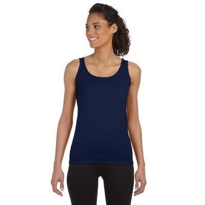 Gildan G642L Women's Softstyle 4.5 oz. Fitted Tank Top in Navy Blue size Large | Cotton G64200L, 64200L