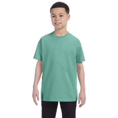 Hanes 54500 Youth 6.1 oz. Tagless T-Shirt in Clean Mint size Large | Cotton 5450