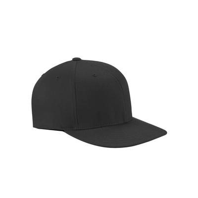 Flexfit 6297F Adult Wooly Twill Pro Baseball On-Field Shape Cap with Flat Bill in Black size Small/Medium