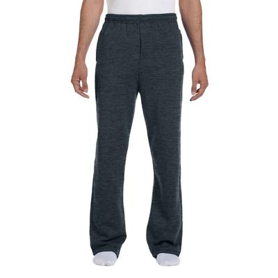 Jerzees 974MP Adult 8 oz. NuBlend Open-Bottom Fleece Sweatpants in Black Heather size 3XL 974MPR