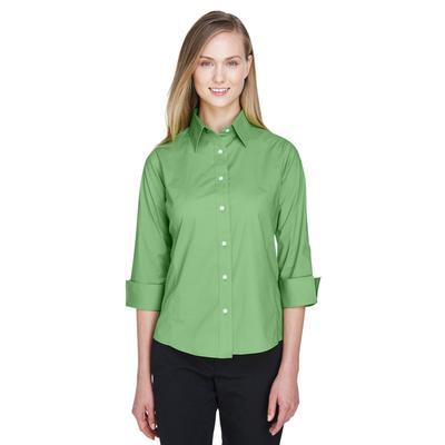 Devon & Jones DP625W Women's Perfect Fit 3/4-Sleeve Stretch Poplin Blouse in Lime size Small