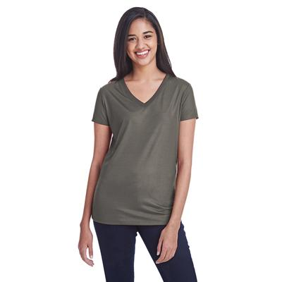 Threadfast Apparel 240RV Women's Liquid Jersey V-Neck T-Shirt in Coal size Small   Polyester