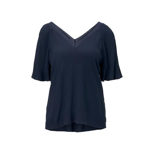 TOM TAILOR DENIM Damen Bluse aus Viskose-Crêpe in A-Shape, blau, Gr.S
