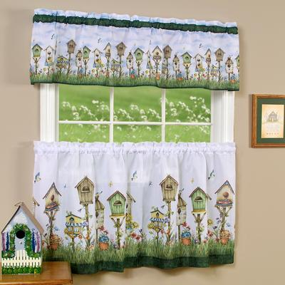 """Wide Width Home Sweet Home Tier and Valance Window Curtain Set by Achim Home Dcor in Multi (Size 58"""" W 36"""" L)"""