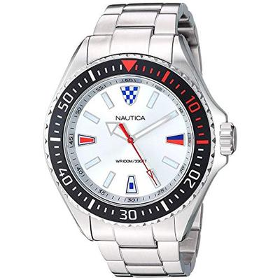 Nautica Men's NAPCPS905 Crandon Park Silver/Black Stainless Steel Bracelet Watch