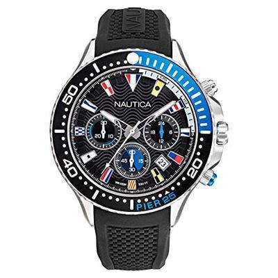 Nautica Men's NAPP25F09 Pier 25 Chrono Black/Blue Silicone Strap Watch