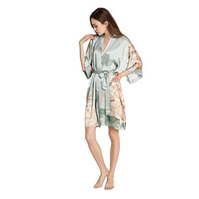 KIM+ONO Silk Kimono Robe Short - Floral Print, Kiku- Misty Jade