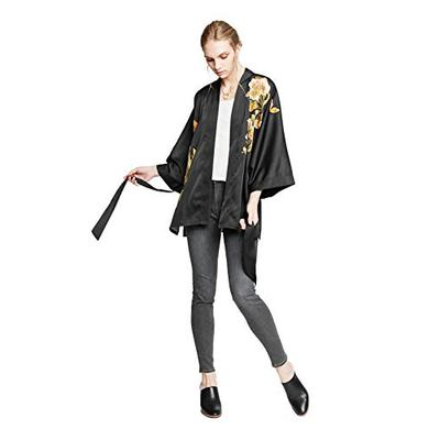 KIM+ONO Women's Charmeuse Kimono Jacket - Peony & Butterfly - Black