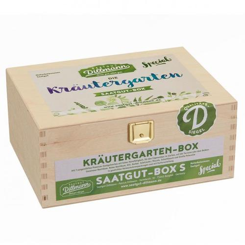 Saatgut-Holzbox Kräutergarten, 7 Saatgut-Sorten
