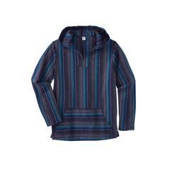 Men's Big & Tall Gauze Pullover Hoodie by KingSize in Navy Stripe (Size XL)