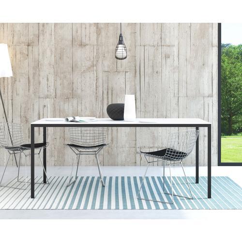 my home Esstisch Family, mit einer kratzfesten Melamienbeschichtung auf der Tischplatte, elegante Metallbeine weiß Holz-Esstische Holztische Tische