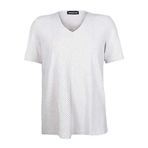 V-Shirt mit Diagonalstreifen seeyou Leinen