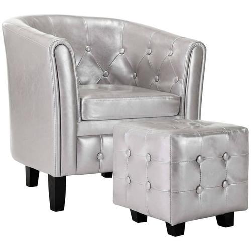 Sessel mit Fußhocker Kunstleder Silbern