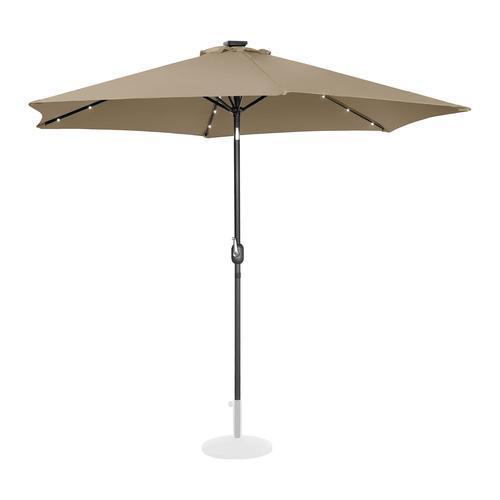 Uniprodo Sonnenschirm mit LED - taupe - rund - Ø 300 cm - neigbar