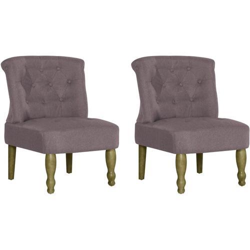 Vidaxl - Französischer Stuhl Stoff Taupe 2 Stk.