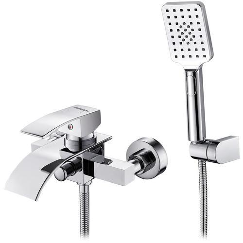 Elegant Badewannenarmatur Wasserfall mit Handbrause, WOOHSE Wannenarmatur Badewanne Armatur