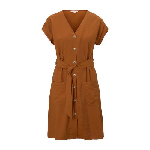 TOM TAILOR DENIM Damen Kleid im Utility-Stil, braun, Gr.M