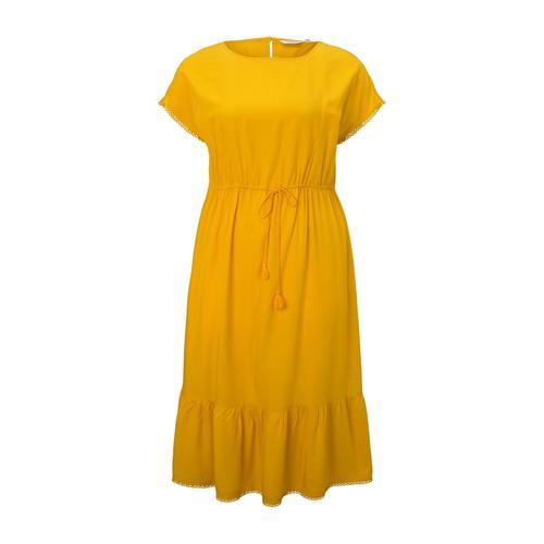 TOM TAILOR MY TRUE ME Damen Curvy - Sommerliches Kleid mit Häkel-Details, gelb, Gr.48