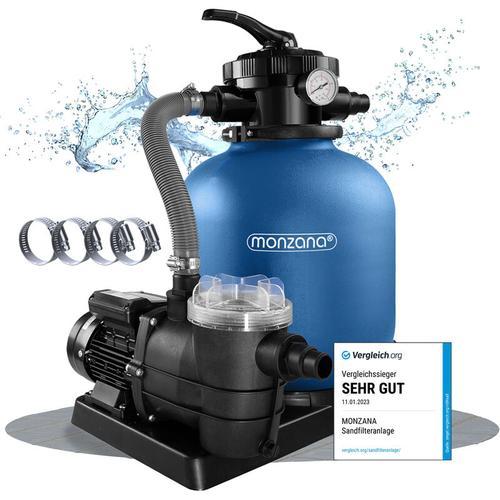 Monzana Sandfilteranlage mit Vorfilter XXL Tank 10.200 l/h Filteranlage Pool Sandfilter